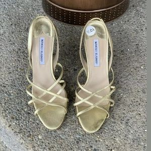 MANOLO BLAHNIK Gold Leather Strappy Sandals 10.5